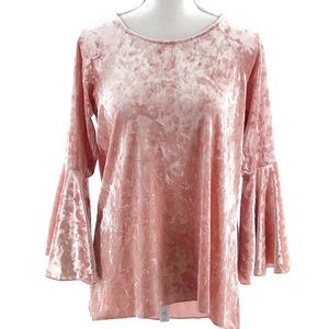 Cupid Pullover Blouse Trumpet Sleeve Pink Size Med